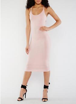 Solid Criss Cross Back Dress - BLUSH - 3410062705631