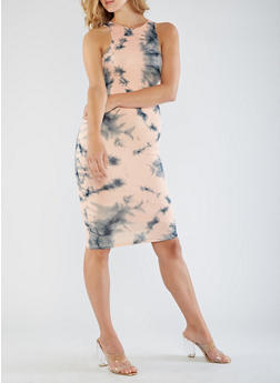 Sleeveless Tie Dye Bodycon Dress - 3410062705636