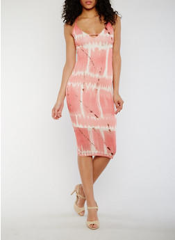Sleeveless Tie Dye Midi Dress with Lace Up Back - PINK - 3410062705638