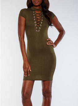 Lace Up Bodycon Dress - OLIVE - 3410062705645