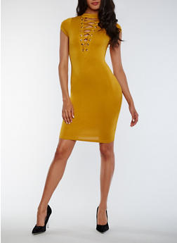 Lace Up Bodycon Dress - MUSTARD - 3410062705645