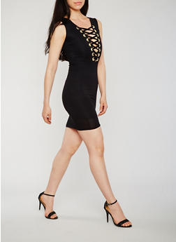 Lace Up V Neck Bodycon Dress - BLACK - 3410062705649