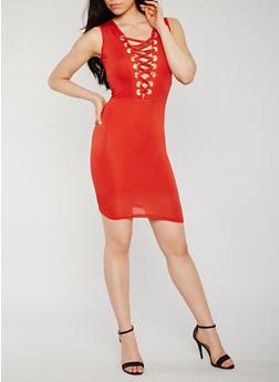 Lace Up V Neck Bodycon Dress - 3410062705649