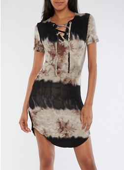 Short Sleeve Tye Dye Lace Up Dress - 3410062705655