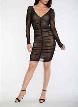 Ruched Mesh Bodycon Dress - 3410062705656
