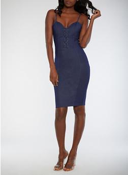 Denim Knit Bodycon Dress - 3410062705658