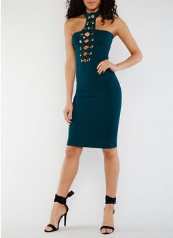 Lace Up Halter Bodycon Dress - HUNTER - 3410062705659