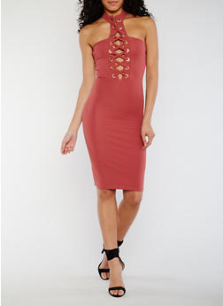 Lace Up Halter Bodycon Dress - MAUVE - 3410062705659