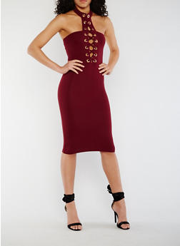 Lace Up Halter Bodycon Dress - 3410062705659