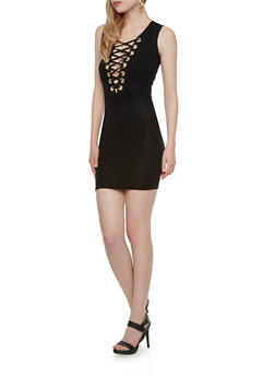 Bodycon Dress with Lace-Up Neckline - 3410062706370