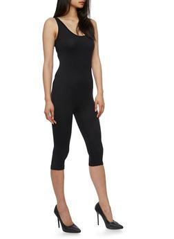 Sleeveless Capri Catsuit - BLACK - 3410062706397