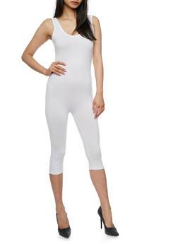 Sleeveless Capri Catsuit - WHITE - 3410062706397