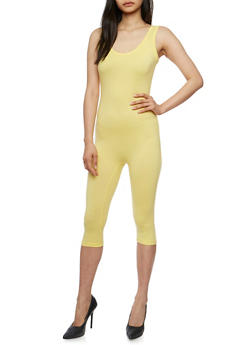 Sleeveless Capri Catsuit - YELLOW - 3410062706397