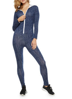 Soft Knit Zip Up Hooded Jumpsuit - 3410062706456