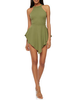 Double Layer Solid Romper - OLIVE - 3410062706462