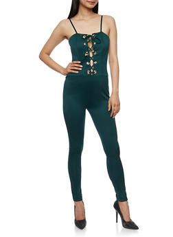 Solid Sleeveless Lace Up Jumpsuit - 3410062706502