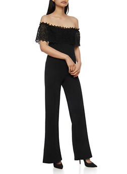 Crochet Off the Shoulder Jumpsuit - BLACK - 3410062706509