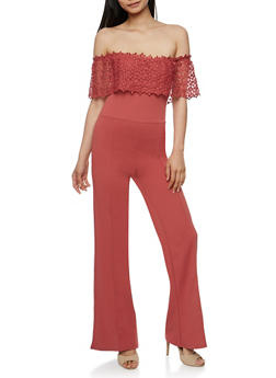 Crochet Off the Shoulder Jumpsuit - MAUVE - 3410062706509