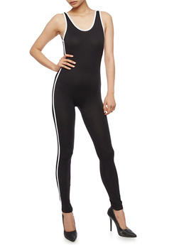 Sleeveless Catsuit with Striped Sides - 3410062708005