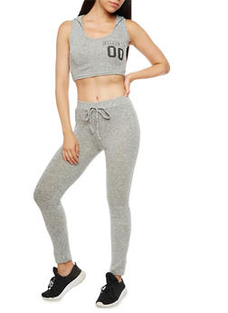 Killin It Graphic Hooded Crop Top and Knit Pants Set - 3410062708007