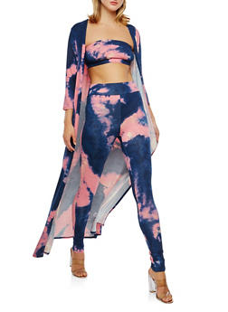 Tie Dye Leggings with Bandeau and Duster Set - PINK - 3410062709805