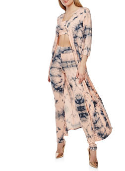 Tie Dye Leggings with Bandeau and Duster Set - BLUSH - 3410062709805