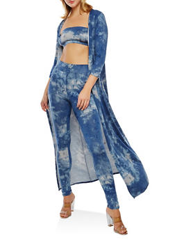 Tie Dye Leggings with Bandeau and Duster Set - BLUE - 3410062709805