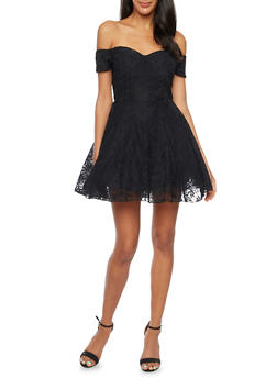 Fit and Flare Dress with Lace Overlay - BLACK - 3410062709864