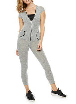 Hooded Zip Front Knit Jumpsuit - 3410062709866