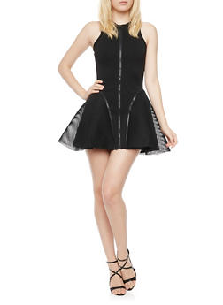 Sleeveless Skater Dress with Mesh and Zip Panels - BLACK - 3410062709869