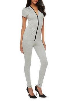 Zip Front Hooded Jumpsuit - 3410062709871