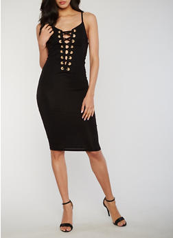 Sleeveless Plunging Lace Up Bodycon Dress - BLACK - 3410062709908