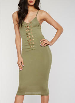 Sleeveless Plunging Lace Up Bodycon Dress - OLIVE - 3410062709908