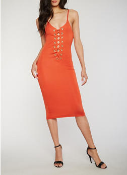Sleeveless Plunging Lace Up Bodycon Dress - RUST - 3410062709908