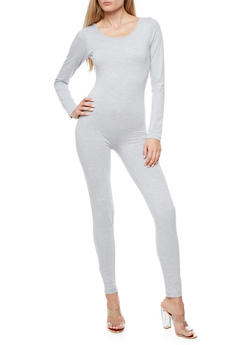 Solid Long Sleeve Catsuit - 3410062709911