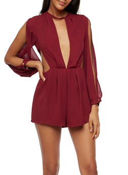 Long Sleeve Cut Out Romper - 3410062709913