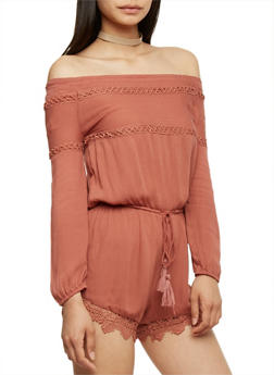 Off the Shoulder Romper with Crochet Scallop Hem - CHOCOLATE - 3410062709918