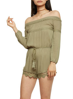 Off the Shoulder Romper with Crochet Scallop Hem - OLIVE - 3410062709918