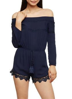 Off the Shoulder Romper with Crochet Scallop Hem - NAVY - 3410062709918