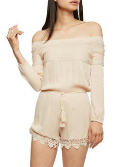 Off the Shoulder Romper with Crochet Scallop Hem - STONE - 3410062709918