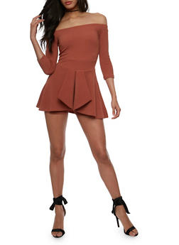 Off the Shoulder Romper with Skirt Overlay - 3410062709931