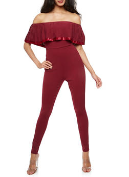 Off the Shoulder Pleated Overlay Jumpsuit - BURGUNDY - 3410062709963