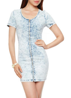 Short Sleeve Acid Wash Denim Shift Dress with Exposed Front Zipper - 3410065306614