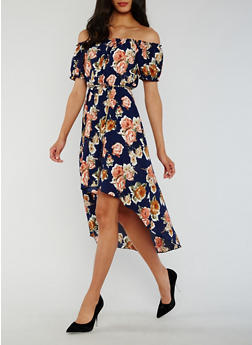 Floral Off the Shoulder High Low Dress - 3410065620139