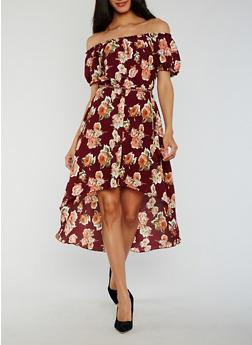 Floral Off the Shoulder High Low Dress - 3410065620139