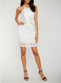 Jewel Halter Neck Lace Mini Dress - IVORY - 3410065620280