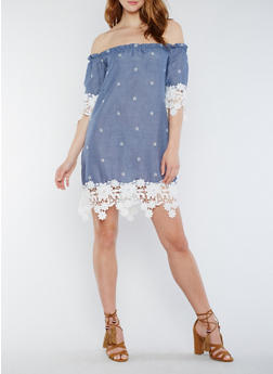 Off the Shoulder Chambray Dress with Crochet Trim - 3410065621418