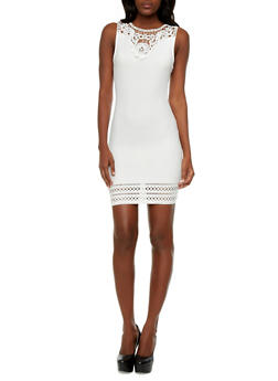 Textured Bodycon Dress With Beaded Lace, Sparkles & Cutoffs at the Hem,IVORY,medium
