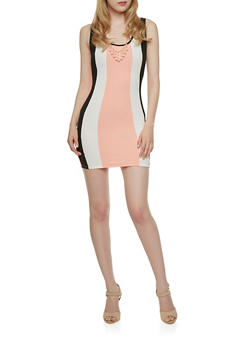 Colorblock Dress with Necklace - 3410065622609