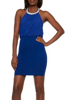 Chiffon Halter Top Mini Dress with Rhinestone Neck - 3410065622764